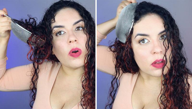 Como secar o cabelo com a peneira - passo 2