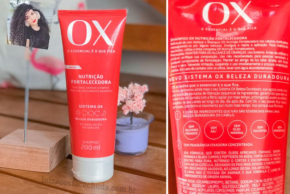resenha linha ox nutrição fortalecedora - shampoo