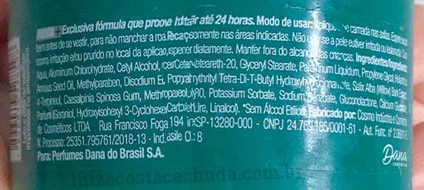 rótulo desodorante herbíssimo